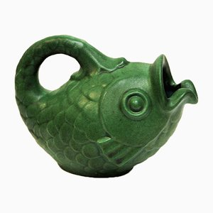 Danish Green Ceramic Fish Jug by Michael Andersen for Michael Andersen & Son, 1970s