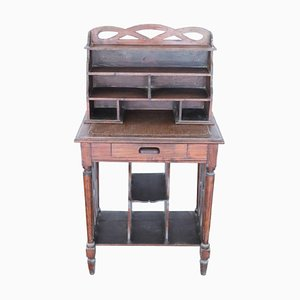 Antique Poplar Table & Letter Holder Set, 1880s