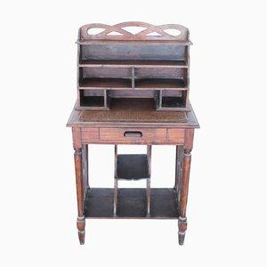Tavolino in legno di pioppo con portalettere, fine XIX secolo