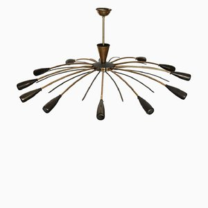 Gilt Brass & Lacquered Metal Ceiling Lamp from Stilnovo, 1950s