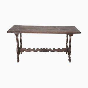 Mesa de comedor antigua de nogal con patas de lira