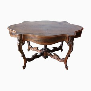 Large Antique Carved Walnut & Briar Center Table, 1850s