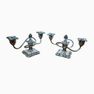 Versilberte antike Napoleon III Kerzenhalter, 2er Set