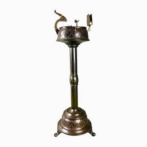 Jugendstil Aschenbecher aus Kupfer mit Zigarrenschneider in Vogel-Optik