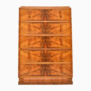 Art Deco Burr Walnut Chest of Drawers, 1920s