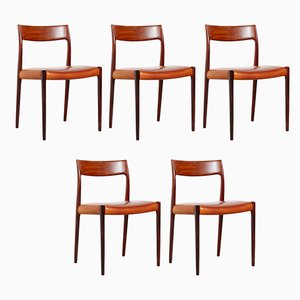 Vintage Model 77 Teak and Rosewood Dining Chairs by Niels Otto Møller, 1960s, Set of 5