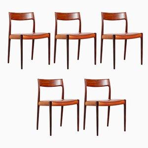 Vintage Modell 77 Esszimmerstühle aus Teak von Niels Otto Møller, 1960er, 4er Set