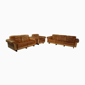 Vintage Cognac Leather Living Room Set by Robert Haussmann for de Sede, 1960s