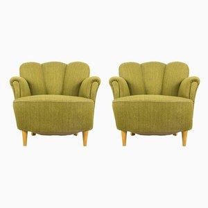 Sessel mit Muschellehne, 1950er, 2er Set