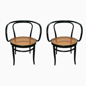 Mid-Century Black Ebonized Bentwood Cane Dining Chairs by Thonet, Set of 2
