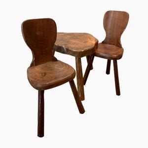 Esszimmerstühle & Tisch, 1950er, 3er Set