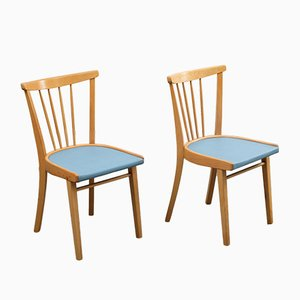 Solid Wood Dining Chairs, 1950s, Set of 2