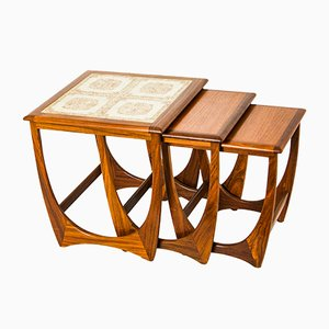 Ceramic Tile & Teak Nesting Tables by Ib Kofod Larsen for G-Plan, 1960s