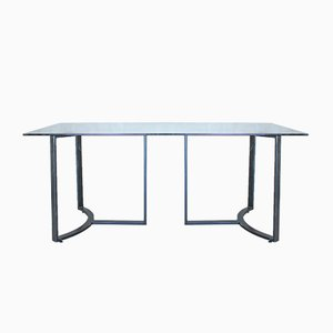 Glass & Steel Dining Table, 1980s