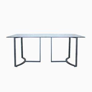 Mesa de comedor de vidrio y acero, años 80