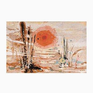 Französischer Goldfarbener Sonnen Wandteppich von Thérèse Le Guen für Robert Four, 1960er