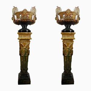 Antique Majlia Column Planters by Massier Clement, 1890s, Set of 2