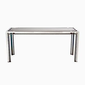 Chrome, Smoked Glass & Bronze Console Table by Romeo Rega, 1970s