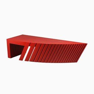 Postmoderner architektonischer Couchtisch mit Wurzelholzfurnier von Wieser Vienna, 1980er