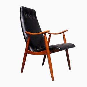 Schwarzer Sessel mit Kunstlederbezug, 1960er