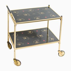 Bar Cart With Gold Frame, 1960s