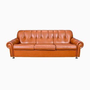 Danish Tan Leather & Chrome Sofa, 1970s