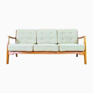 Sofá de tres plazas danés de lana y haya, años 50