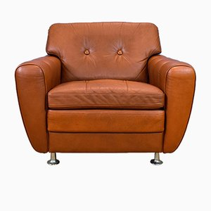 Danish Tan Leather Armchair by Svend Skipper for Skipper, 1970s
