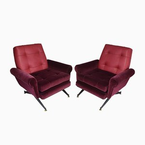 Mid-Century Italian Leather & Velvet Armchairs, Set of 2