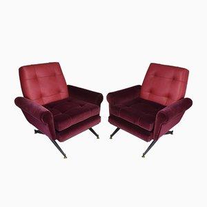 Mid-Century Italian Leather & Velvet Armchairs, Set of 2