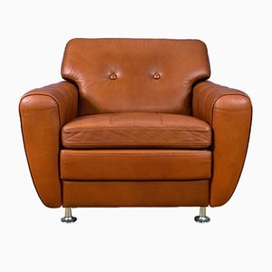 Tan Leather Armchair by Svend Skipper for Skipper, 1970s