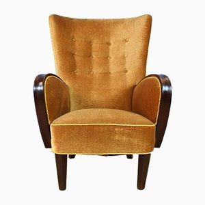 Danish Art Deco Gold Velour Lounge Chair, 1930s