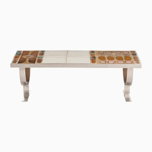 French Ceramic Tile & Nickel-Plated Metal Coffee Table, 1970s