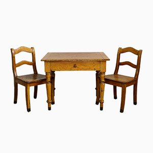 Antique Childrens Table with 2 Chairs, 1840s