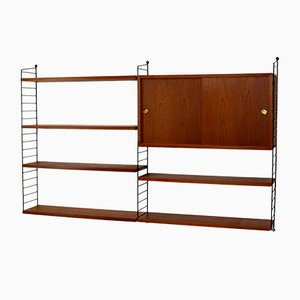 Vintage Teak Veneer Wall Unit by Strinning, Kajsa & Nils ''Nisse'' for String, 1960s