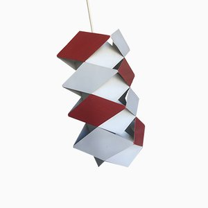 Plafonnier Scandinave Rouge et Blanc par Preben Dahl pour Hans Følsgaard Elektro A/S, 1960s