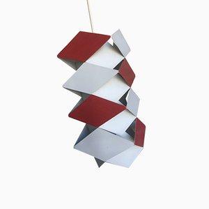 Rot-weiße Deckenlampe im skandinavischen Stil von Preben Dahl für Hans Følsgaard Elektro A/S, 1960er