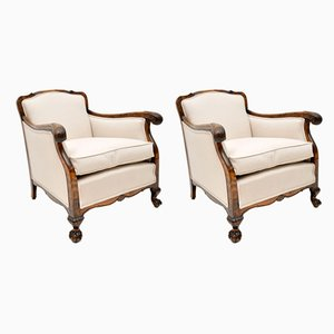 Antique Antique Swedish Satin Birch Armchairs, Set of 2