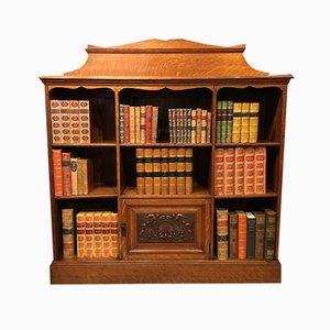Antikes viktorianisches offenes Bücherregal aus Eiche
