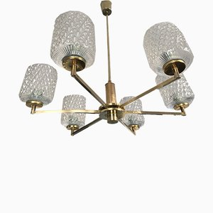 Brass & Blown Glass 6-Branch Chandelier, 1950s