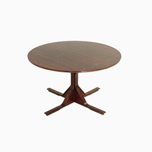 Vintage Rosewood Round Dining Table by Gianfranco Frattini for Bernini, 1960s