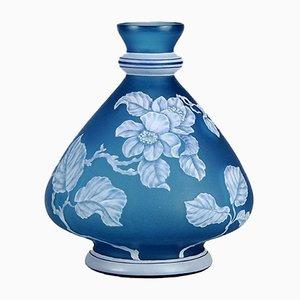 Antike Cameo Vase in Blau von Stevens and Williams