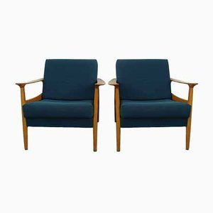 Mid-Century Blue Lounge Chairs, Set of 2