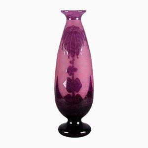 Vintage Vase mit Dahlienmotiv von Le Verre Français, 1930er