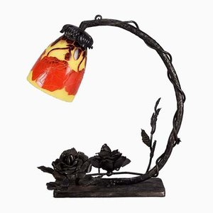 Vintage Glass Poppy Table Lamp by Le Verre Français, 1920s