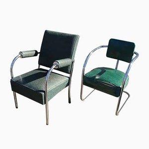 Amerikanische Mid-Century Esszimmerstühle mit Stahlrohrgestell, 2er Set