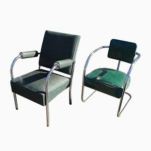 Mid-Century American Steel Tube Dining Chairs, Set of 2