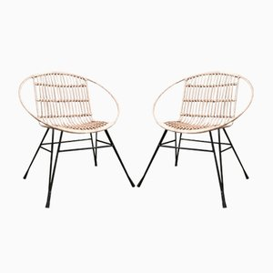 Mid-Century Metal & Rattan Lounge Chairs, Set of 2