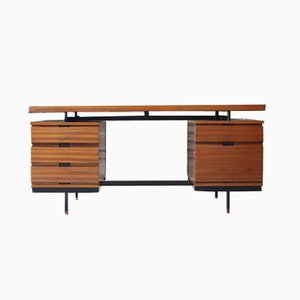 Mahogany Veneer Desk by Pierre Guariche for Minvielle, 1950s