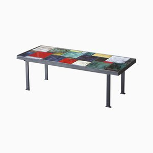 Table Basse en Céramique Multicolore et Acier, 1950s